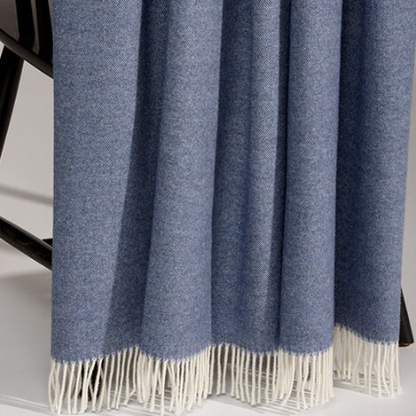 Merino Wool Throw, Navy ,  , large