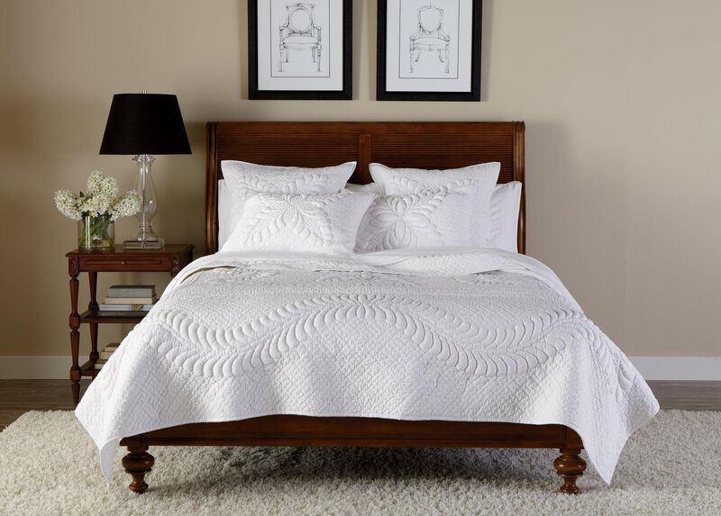 White Trapunto Quilt and Shams ,  , large_gray