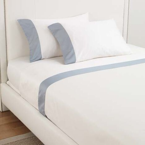 Beaumont King Flat Sheets Ivory/Wilton Blue ,  , large