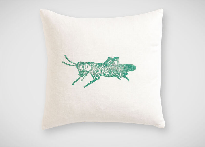 Block-Printed Green Grasshopper Pillow ,  , large_gray