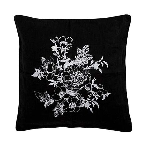 Black and White Floral Embroidered Linen Pillow ,  , large