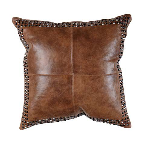 brown worn leather pillow large