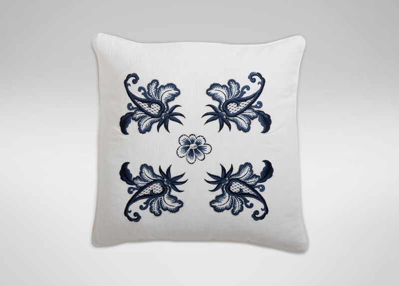 Blue and White Floral Embroidered Linen Pillow ,  , large_gray