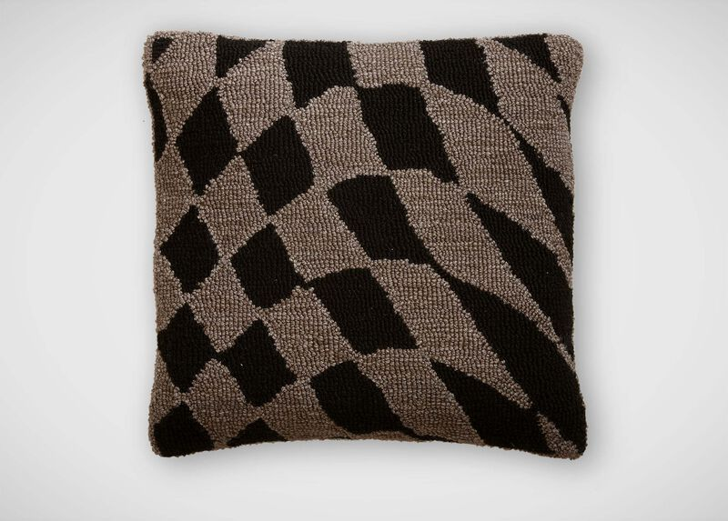 Wavy Checkered Wool Pillow ,  , large_gray