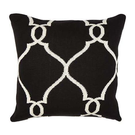 Black and Ivory Fretwork Pillow ,  , large