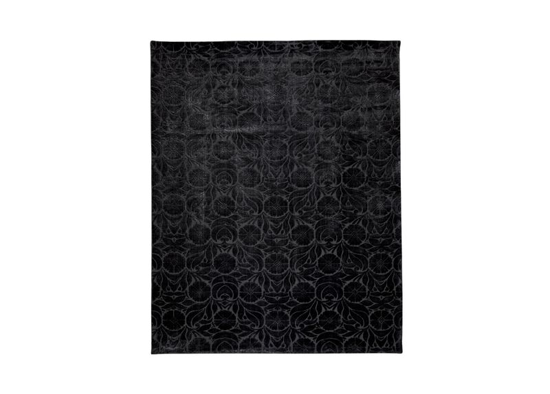 Floral Jacquard Rug, Black ,  , large_gray