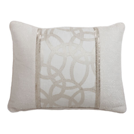 Blanc Pieced Pillow with Beaded Trim ,  , large