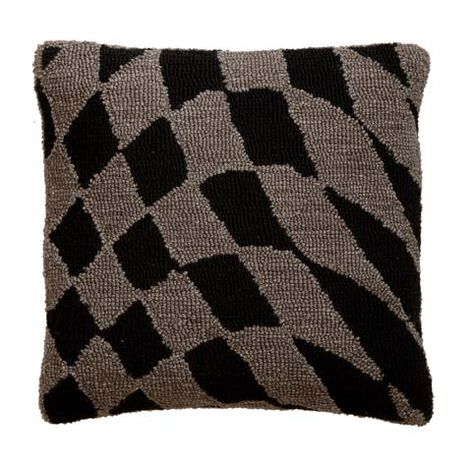 Wavy Checkered Wool Pillow ,  , large