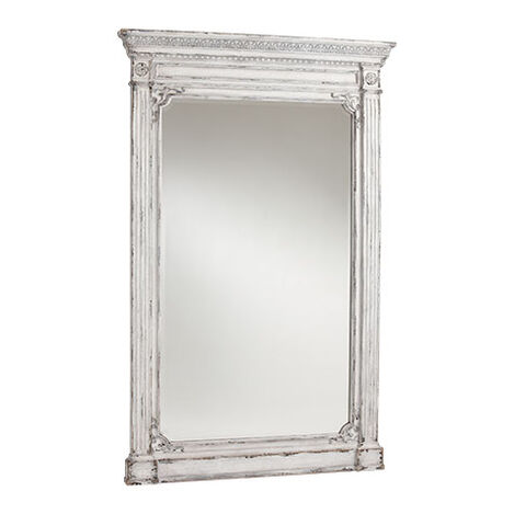 Antique White Madeleine Trumeau Floor Mirror ,  , large
