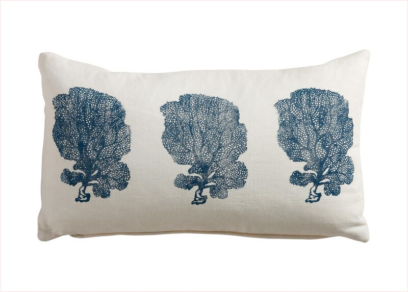 Block-Printed Fan Coral Pillow, Ivory/Blue ,  , large_gray