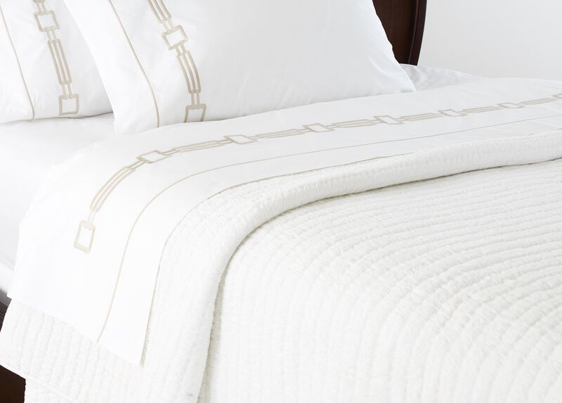 Camdyn Embroidered Flat Sheets, White/Flax ,  , large_gray