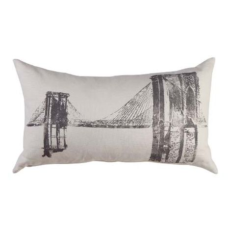 Brooklyn Bridge Block-Printed Pillow ,  , large