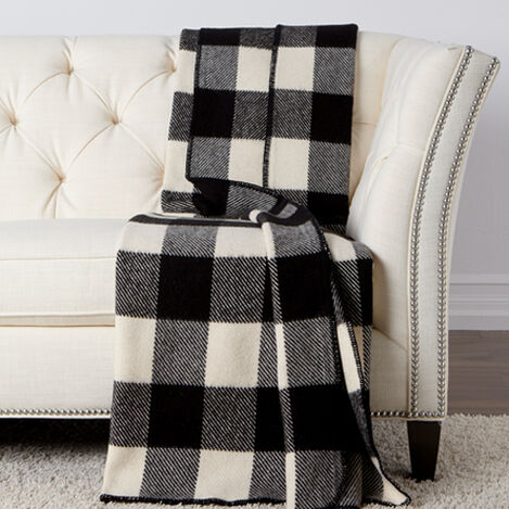 Buffalo Check Throw, Ivory/Black ,  , large