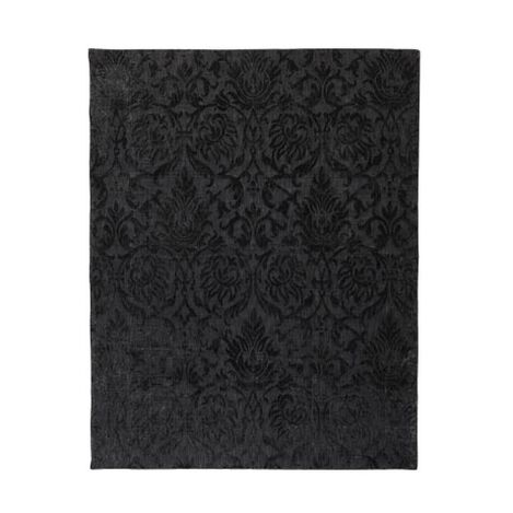 Jacquard Damask Rug, Black ,  , large