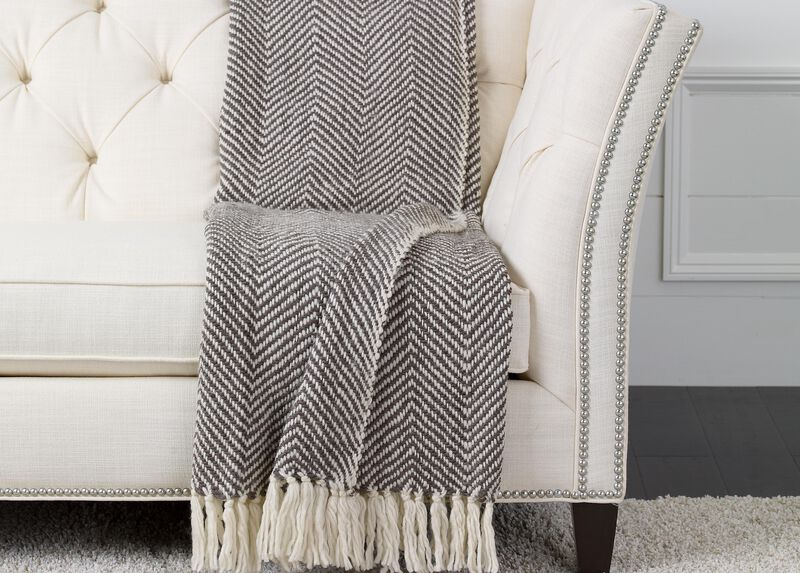 Herringbone Knit Throw, Brown/White ,  , large_gray