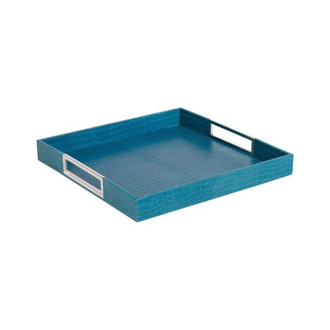 Square Turquoise Leather Tray ,  , large