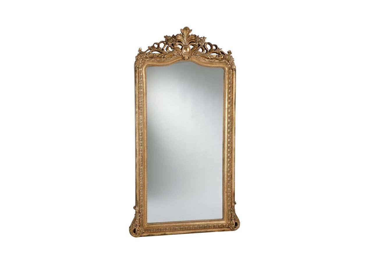 Aged gold luxe floor mirror mirrors for Large gold floor mirror