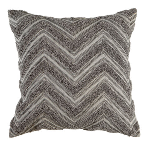 Modern Gray Bouclé Chevron Pillow ,  , large