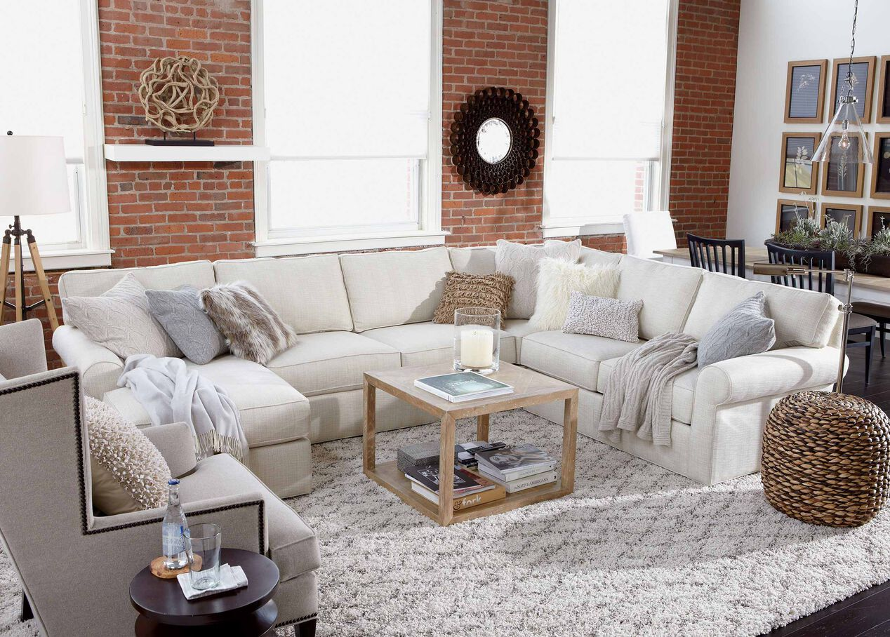 Living Room Furniture Ethan Allen Retreat Roll Arm Sectional With Chaise Sectionals