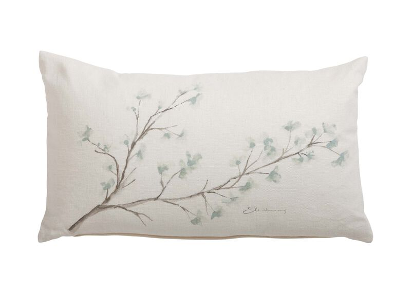 Hand-Painted Mineral Blossom Pillow ,  , large_gray