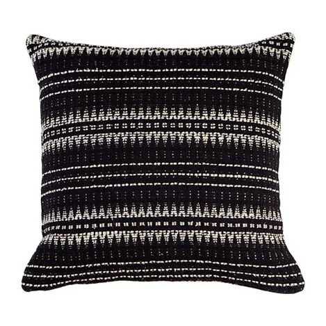 "22"" Black and Ivory Woven Silk Pillow ,  , large"