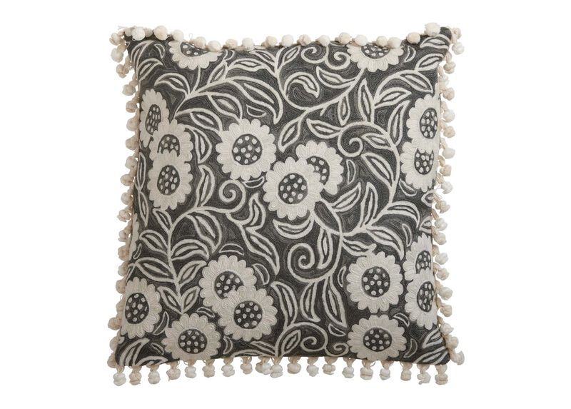 Crewel Sunflower Vine Pillow, Gray ,  , large_gray
