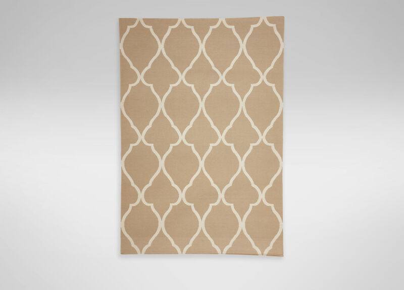 Fretwork Dhurrie Rug, Sand ,  , large_gray