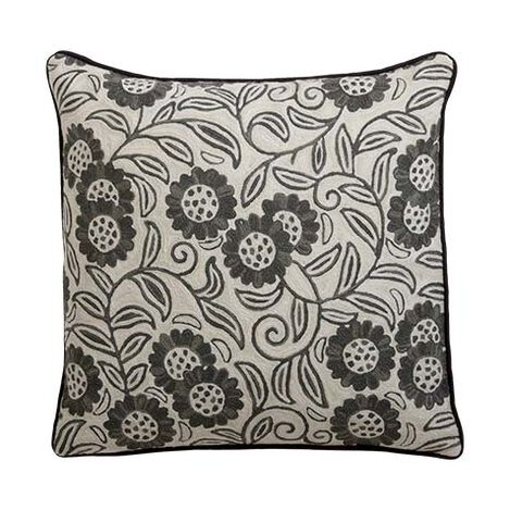 Crewel Sunflower Vine Pillow, Ivory ,  , large