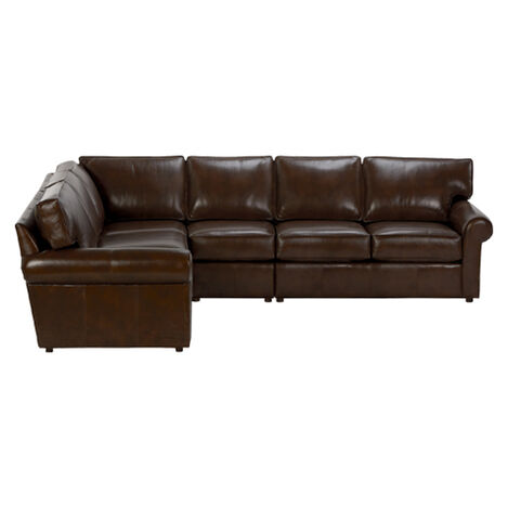 Retreat Roll-Arm Leather Four Piece Sectional, Quick Ship ,  , large