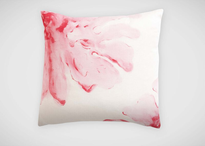 Pink Hibiscus Hand-Painted Pillow ,  , large_gray