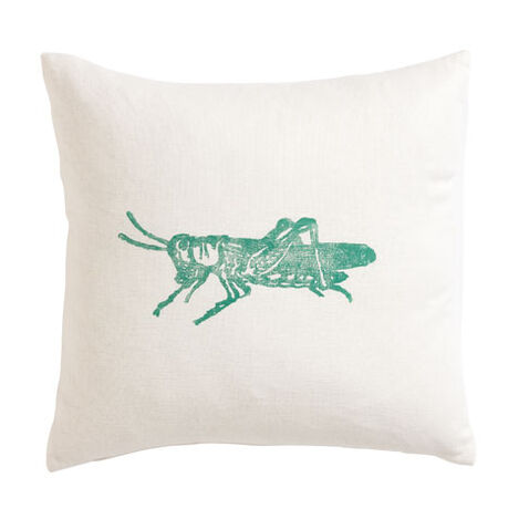 Block-Printed Green Grasshopper Pillow ,  , large