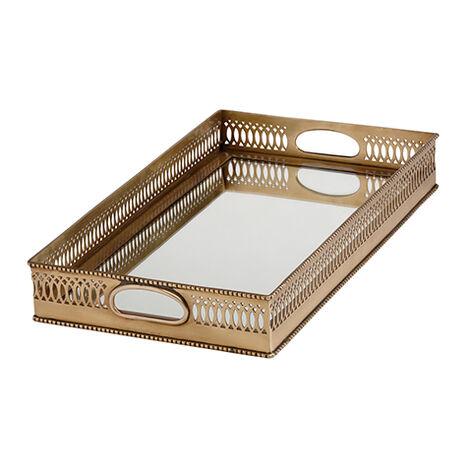 Plateau rectangulaire miroir en laiton ,  , large