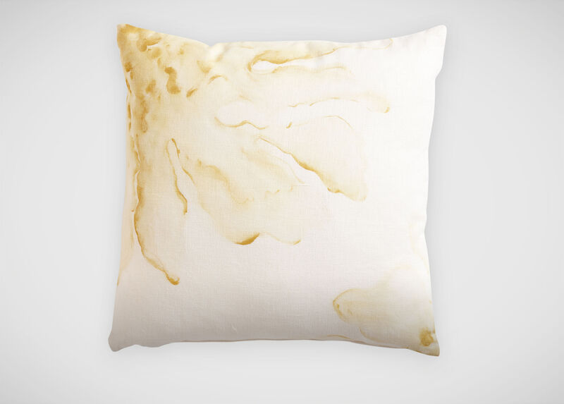 "Yellow Hibiscus Hand-Painted Pillow, 20"" ,  , large_gray"