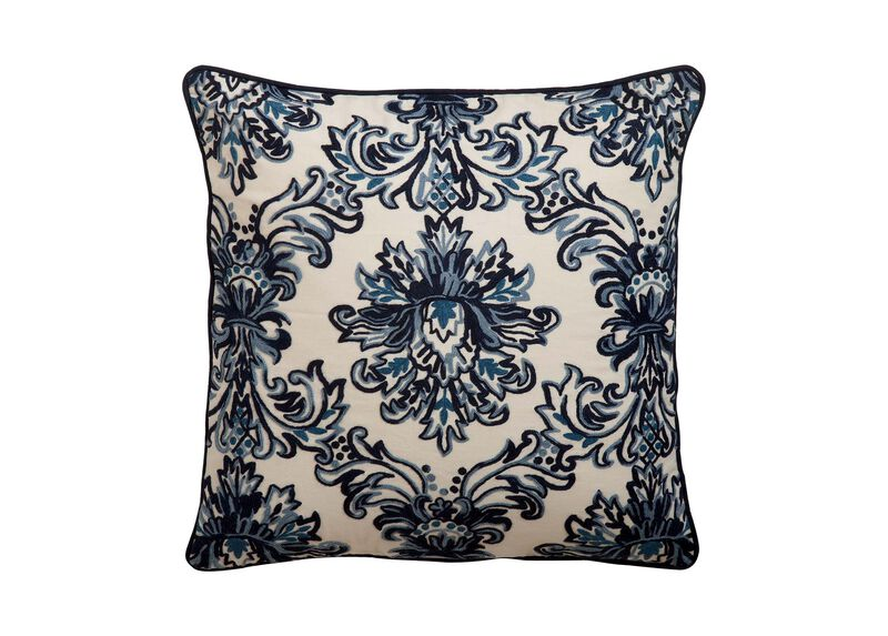Crewel Embroidered Medallion Pillow, Blue ,  , large_gray