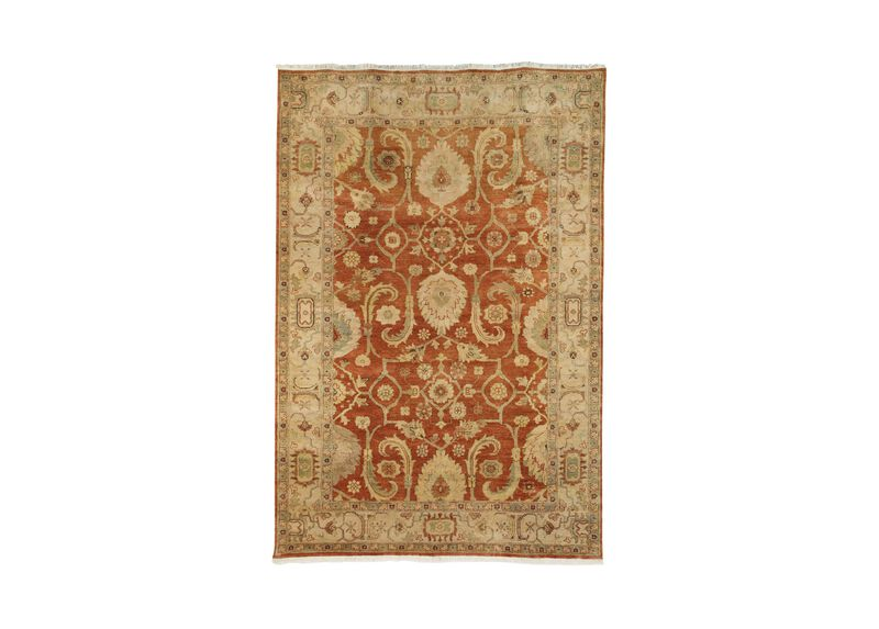 Indo Herat Rug, Rust/Ivory ,  , large_gray