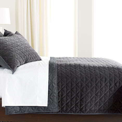Gresham Charcoal Velvet Coverlet ,  , large