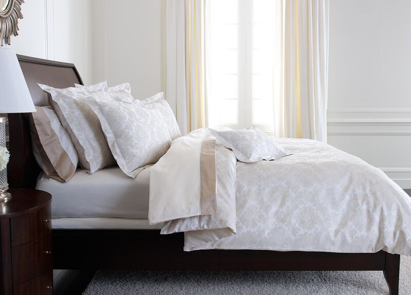 Bayley Damask Duvet Cover, White and Flax ,  , large_gray