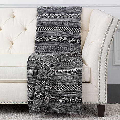 Black and White Graphic Knit Throw ,  , large