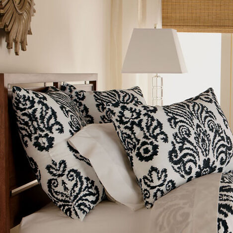 Embroidered Linen Damask Euro Sham, Black and White ,  , large