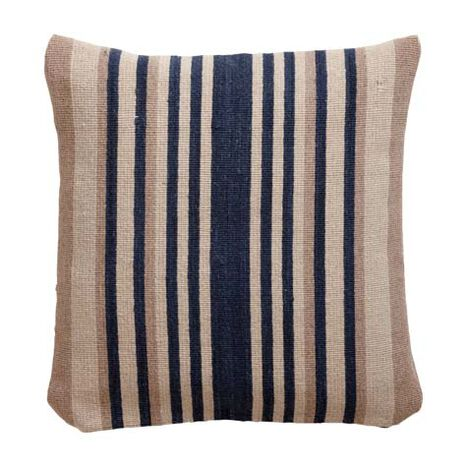 Navy and Sand Stripe Wool Pillow ,  , large