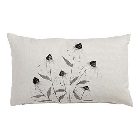 Hand-Painted White Cone Flower Pillow ,  , large