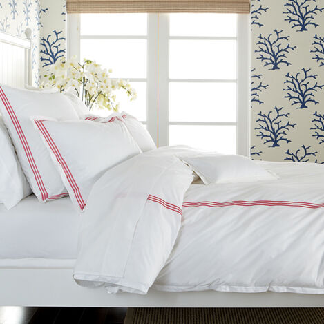 White Twin Duvet Cover with Pink Embroidery ,  , large