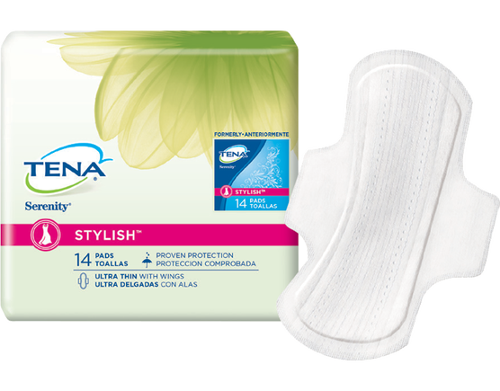 TENA Serenity STYLISH™ Ultra Thin Pads with Wings 1 Pack - 14 Count