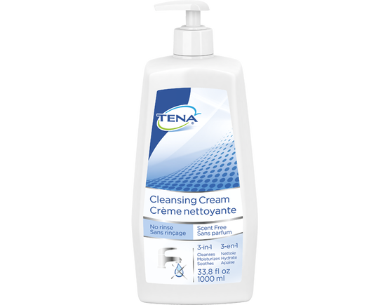 TENA Cleansing Cream Scent Free Pump Bottle - 1 Bottle 33.8 fl oz