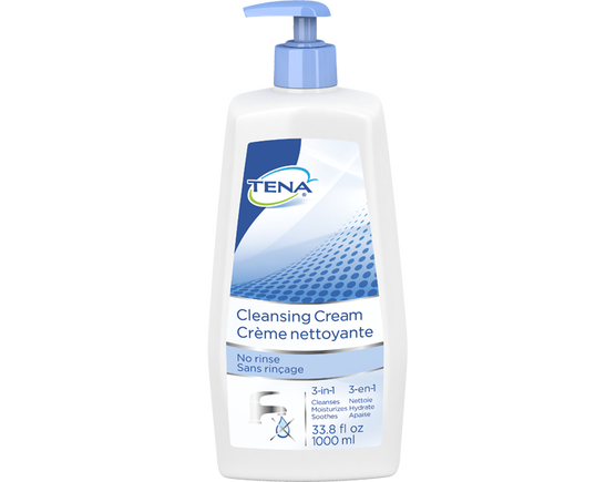TENA Skin-Caring Cleansing Cream Pump Bottle, no rinse body wash, incontinence skin care