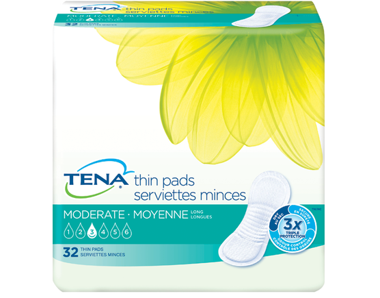 TENA Moderate Thin Pads Long 1 Pack - 32 Count