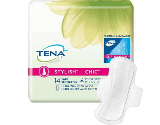 incontinence ultrathin pad, tena pads, pad with wings, incontinence ultra thin