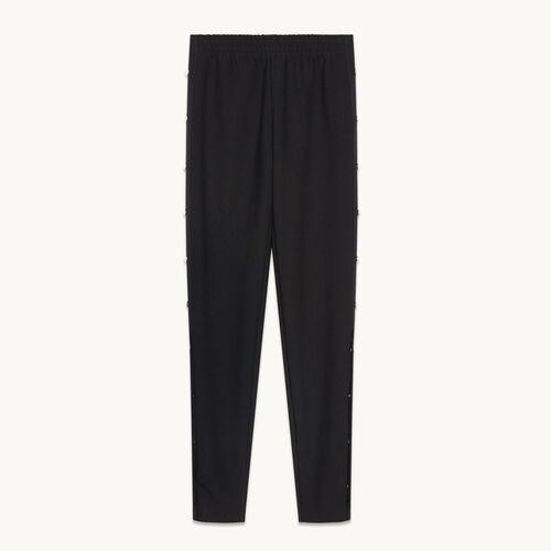 Hose aus Krepp mit Druckknöpfen - Hosen und Jeans - MAJE