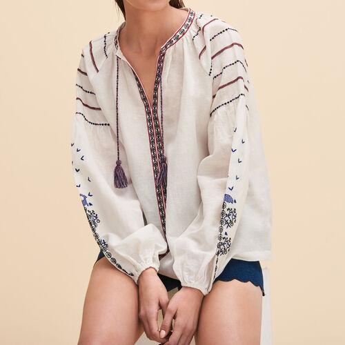 Bluse mit Stickerei im Ethno-Stil - Tops - MAJE
