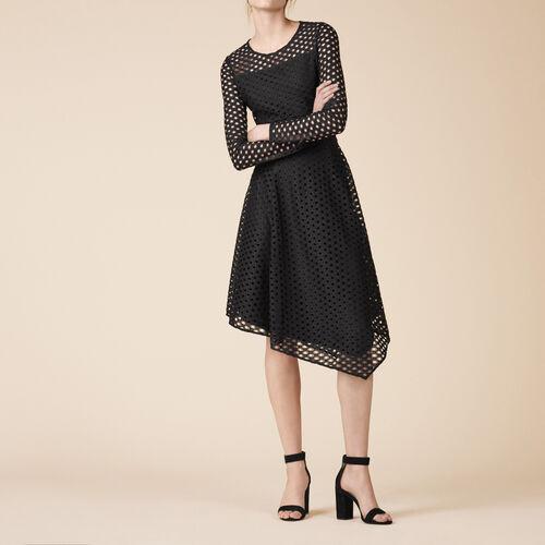 Langes, asymmetrisches Kleid aus Spitze - Kleider - MAJE